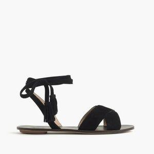 J.Crew Lace Up Suede Sandal (Black, size 10)